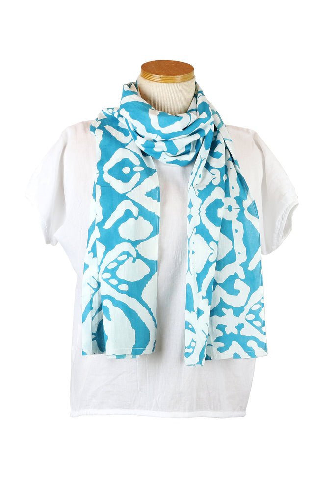 Teal Aborigine Scarf with White Tassels