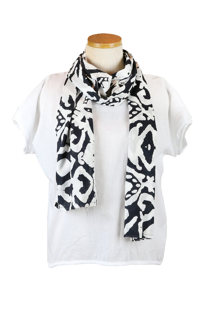 Black Aborigine Scarf with Black Tassels