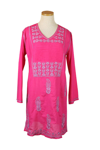 Embroidered Long Tunic Mexican Raspberry and Lilac