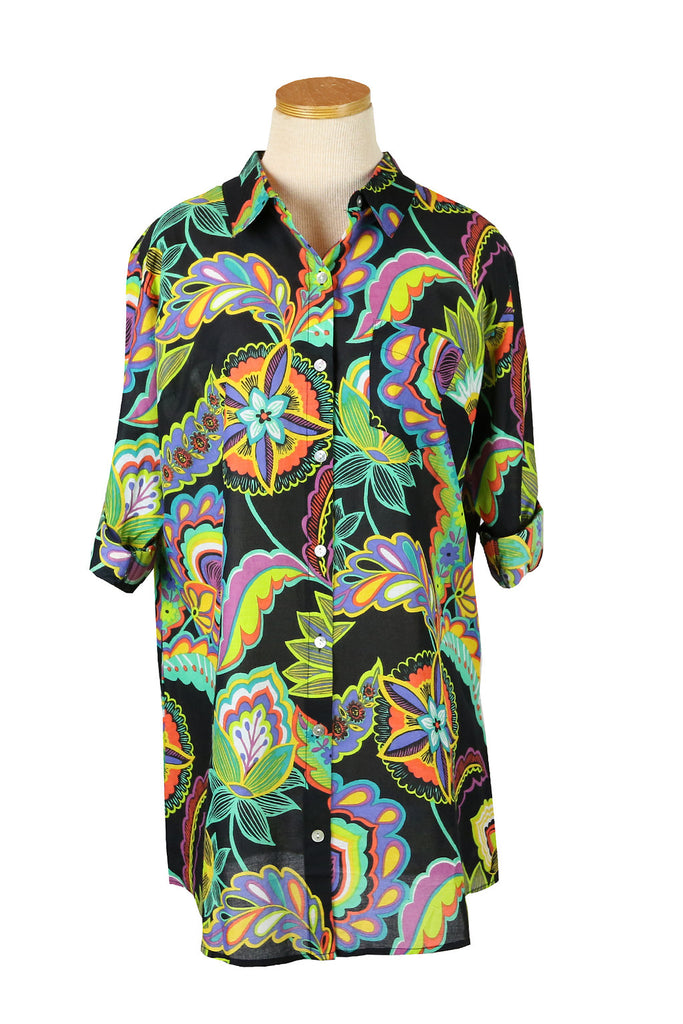 Black Turkish Floral Boyfriend Shirt