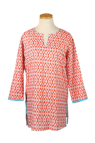 Orange Seeds KikiSol Tunic with Turquoise Trim