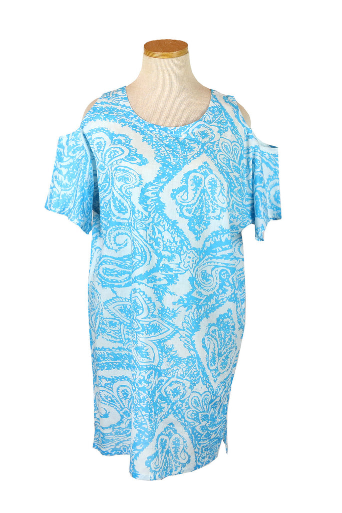 Turquoise Batik Floral Cold Shoulder Top