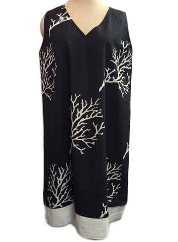 Black and White Coral A-Line Dress