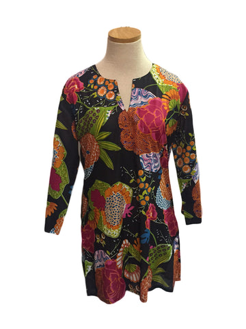 Black Indian Tropical KikiSol Tunic