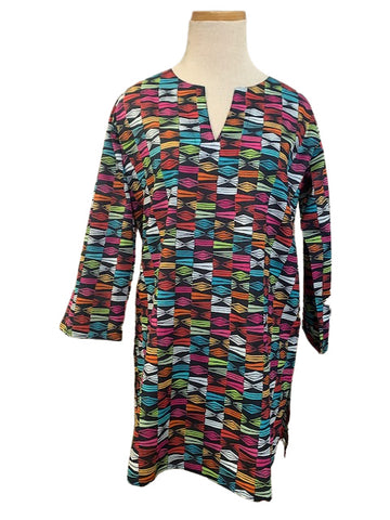 Black and Multi Block Geo KikiSol Tunic
