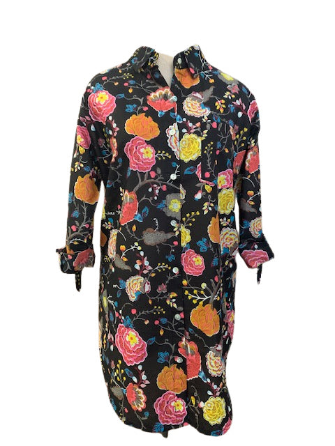 Black and Multi-Colored Formosa Floral KikiSol Boyfriend Shirt