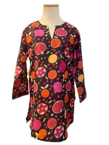 Black and Multi Pomegranate KikiSol Tunic with Merlot Trim