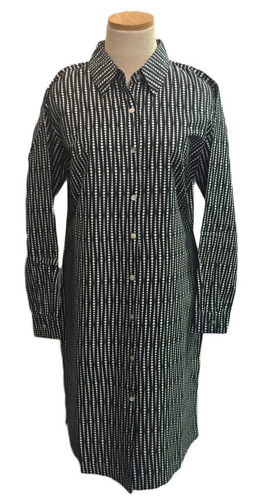 Black Fading Dots Shirt Dress