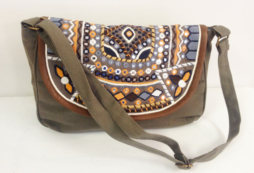 Gray Multi-Colored Embroidered Mirrored Satchel