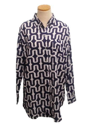 Navy Zanzibar Over-Sized KikiSol Boyfriend Shirt