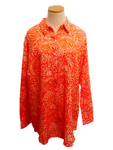 Coral Paisley Over-Sized Boyfriend Shirt