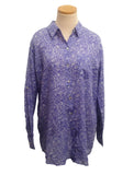 Royal Blue Paisley Over-Sized Boyfriend Shirt