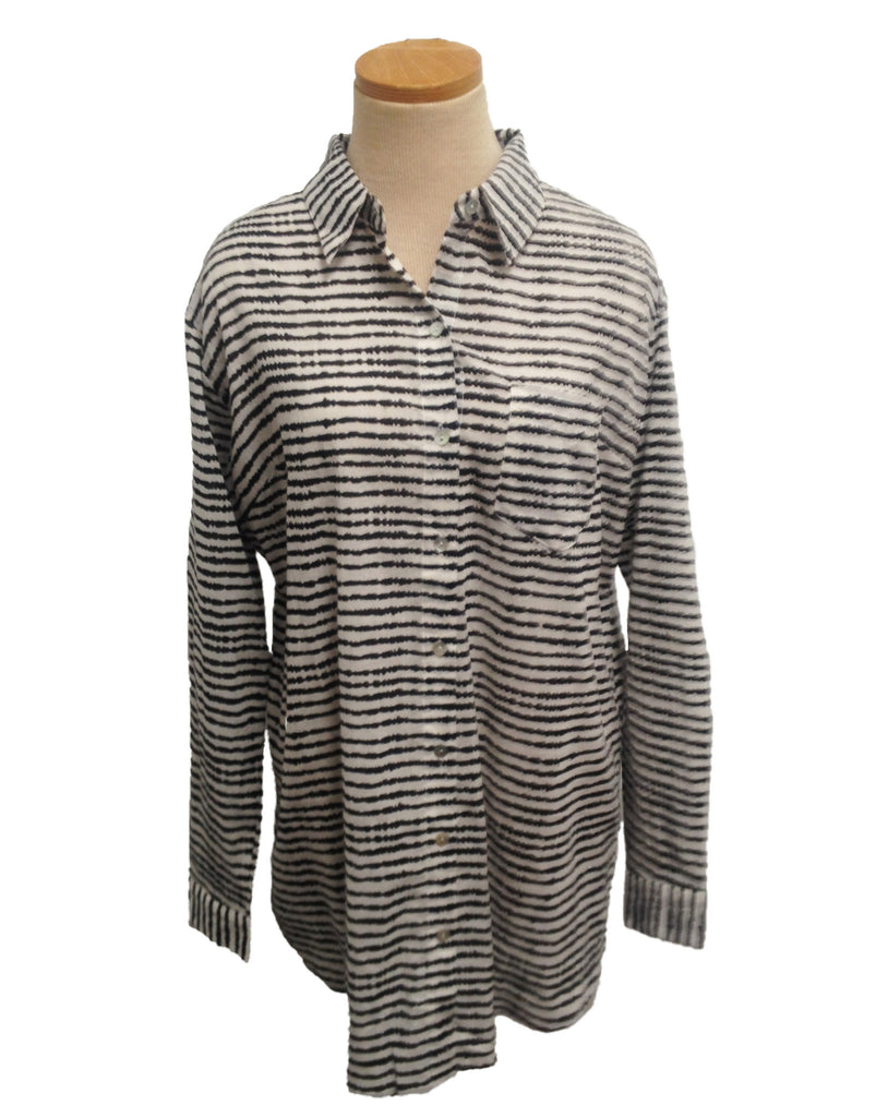 Black and White Stripe Ibiza Over-Sized KikiSol Boyfriend Shirt