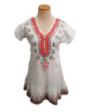 White Butterfly Embroidered and Beaded Tunic
