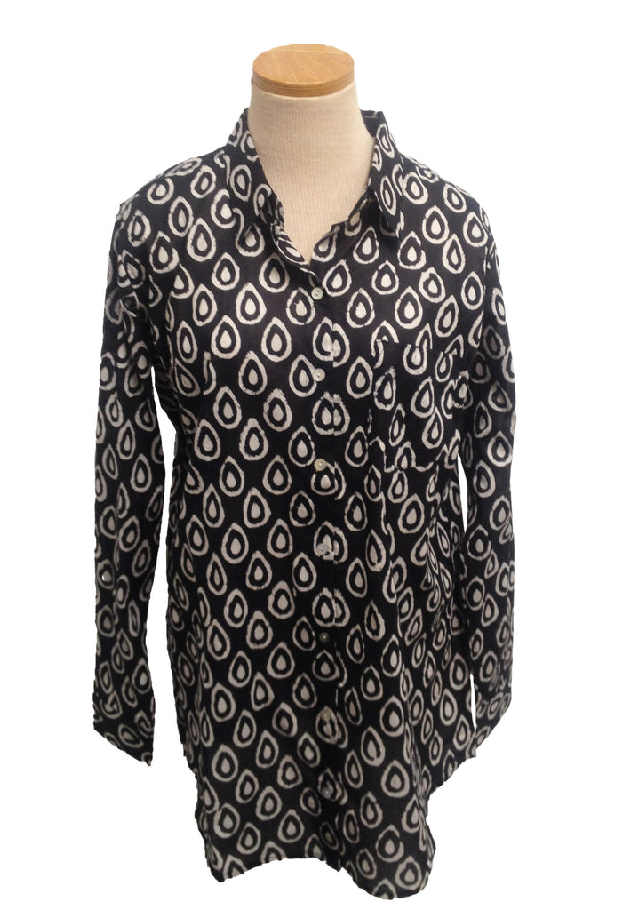 Black and White Drops Over-Sized KikiSol Boyfriend Shirt
