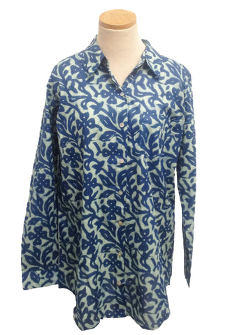 Indigo and White Floral Over-Sized Boyfriend Shirt
