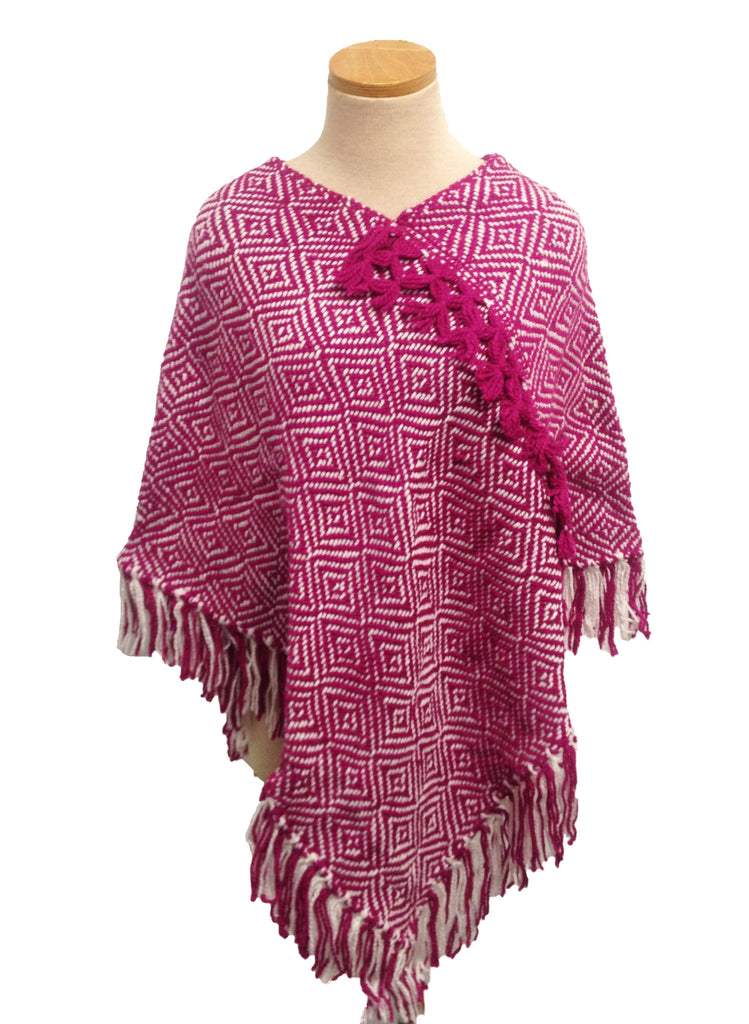 Hand-Knit Raspberry and White Poncho