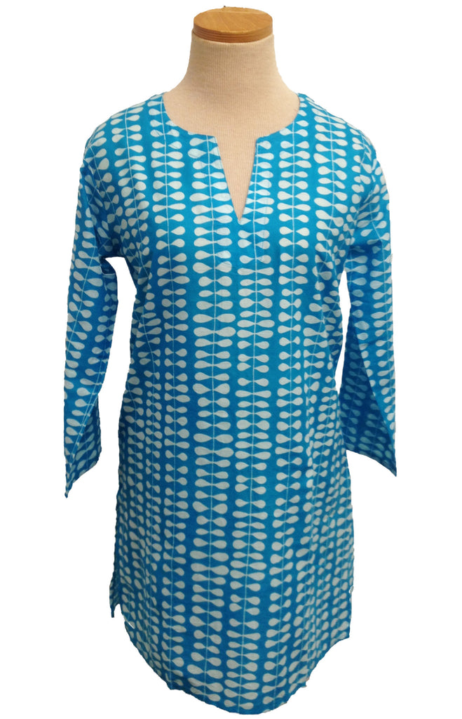 Turquoise and White Willow KikiSol Tunic
