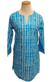 Turquoise and White Willow Tunic