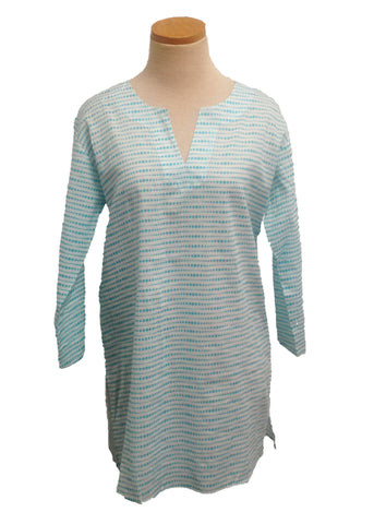 Aqua on White Fading Dots Tunic