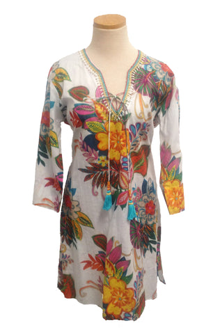 Cream Fiji Beaded KikiSol Tunic with Tassel