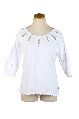 Mexican 3/4 Length Sleeve Top with Hand-Crochet Sunshine Neckline
