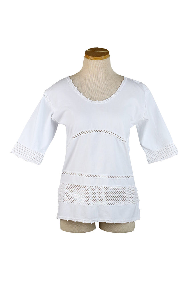 Mexican 3/4 Length Sleeve Top with Crochet Stripes at Hip