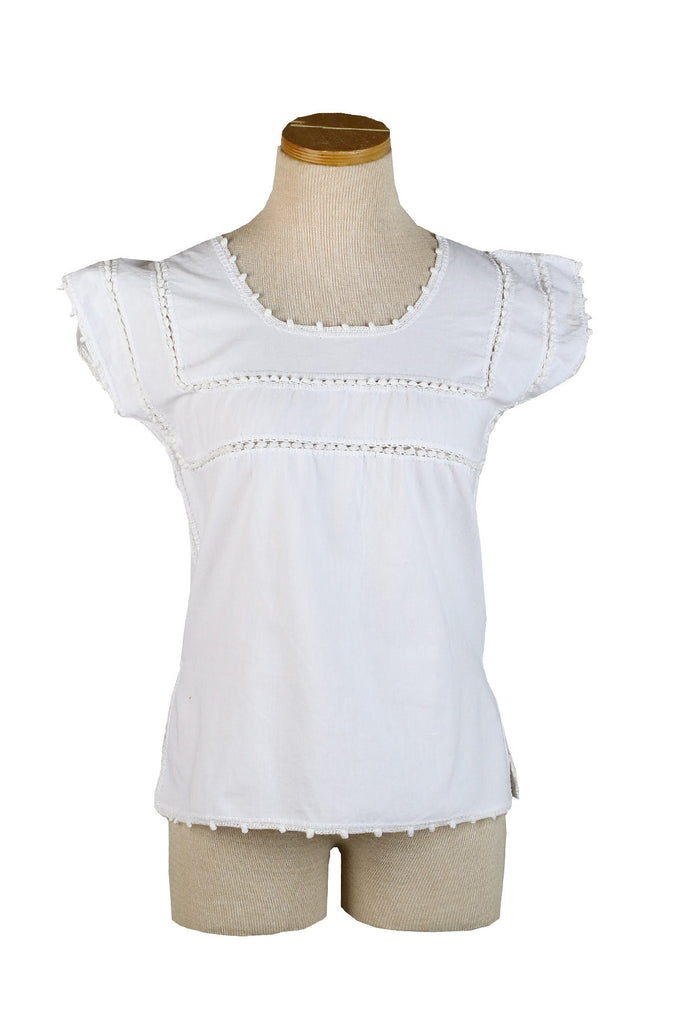 Mexican Hand-Crochet Short Sleeved top with Top Stripes