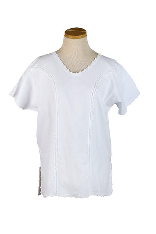 Mexican Hand-Crochet Short Sleeved top with Side Stripes