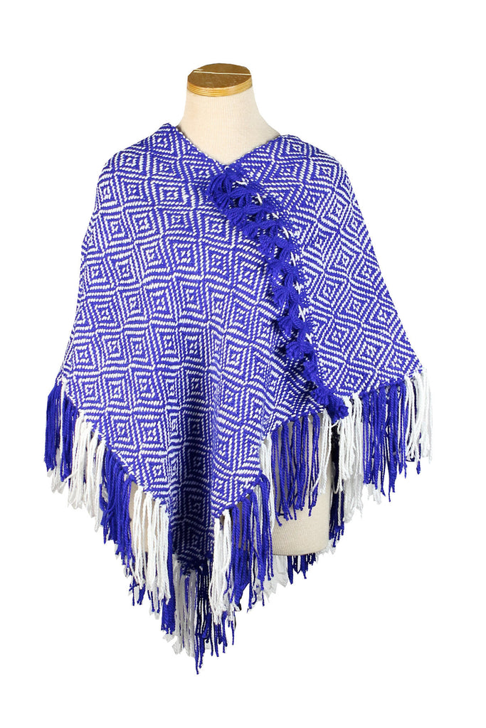 Hand-Knit Purple Blue and White Poncho