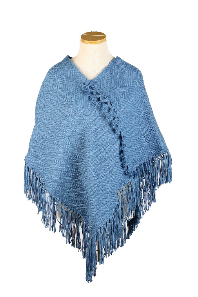 Hand-Knit Solid Gray Blue Poncho