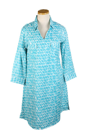 Tunic Dress Aqua Paintbrush
