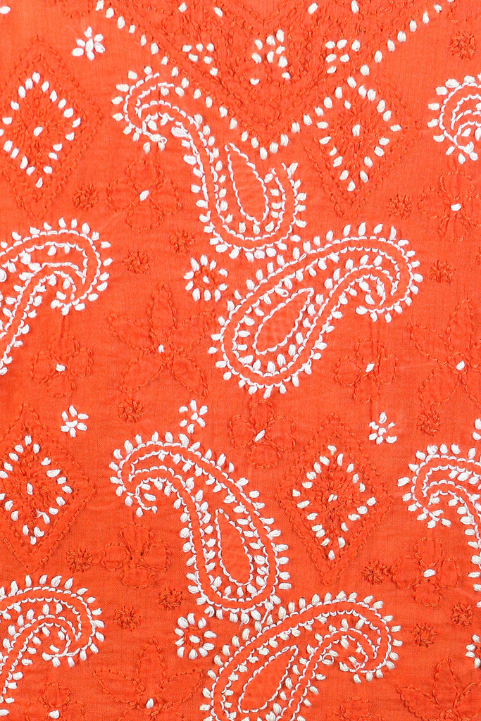 Burnt Orange Paisley with a Full-Front Embroidery