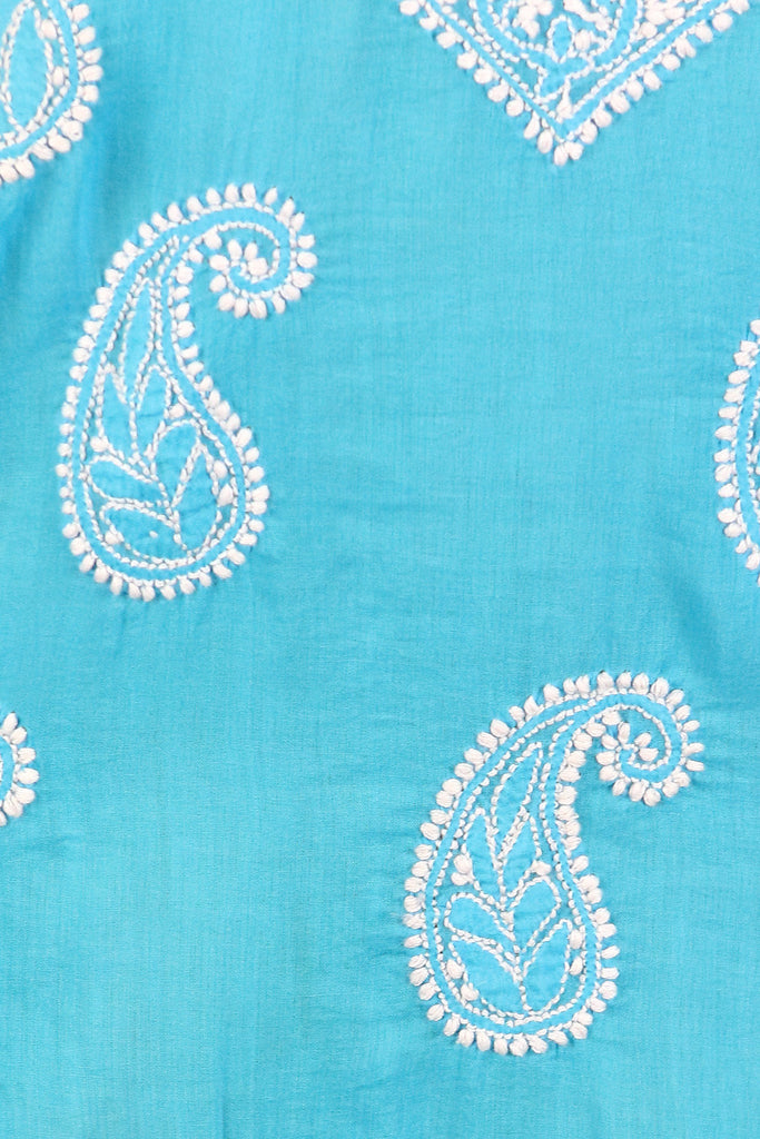 Turquoise Embroidered Paisley Tunic