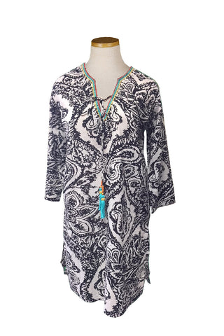 New! Black Batik Floral Beaded KikiSol Tunic with Tassel