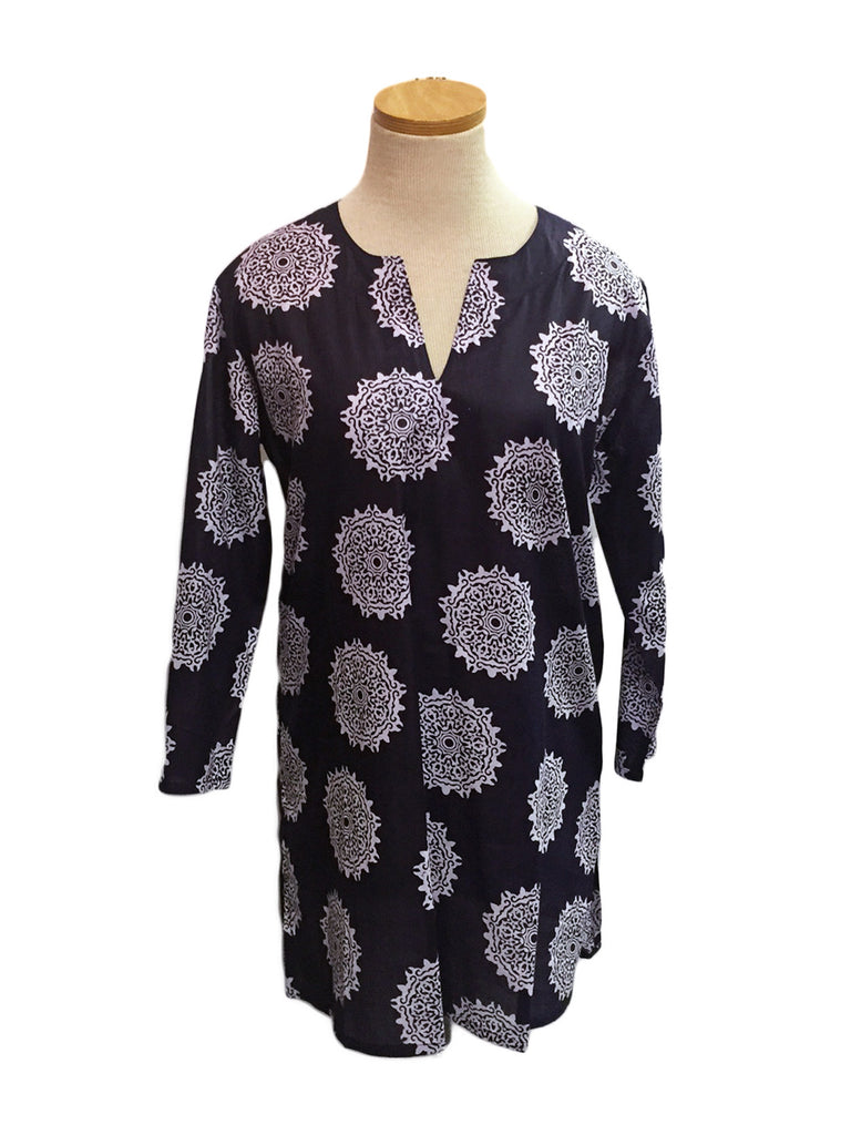 Moroccan Print Summer Tunic Navy