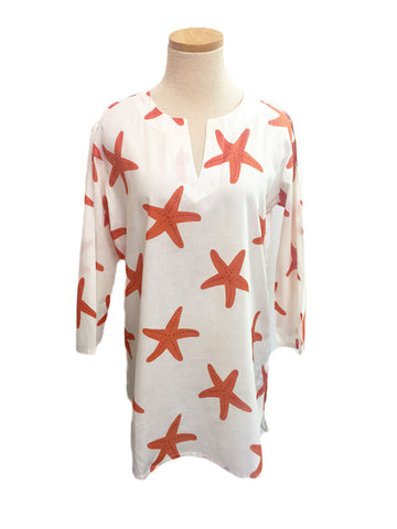 Orange and Raspberry Starfish KikiSol Tunic