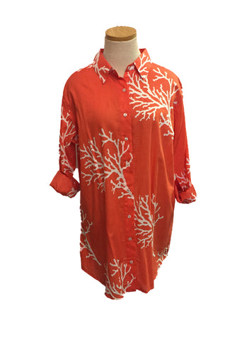Papaya Over-sized Coral KikiSol Boyfriend Shirt