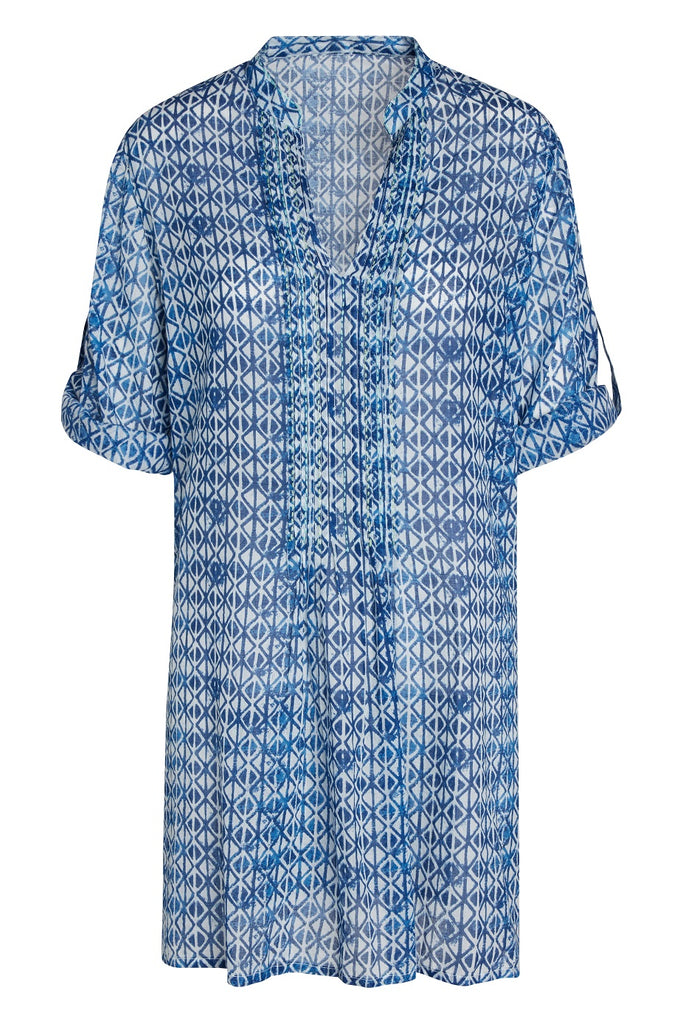 Artisan by KikiSol Blue Deco Embroidered and Pleated Tunic