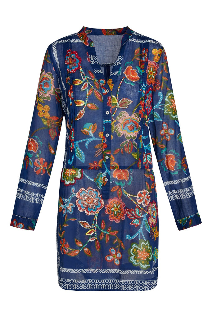Artisan by KikiSol Royal Blue Embellished Floral Tunic