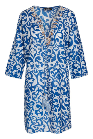 Royal Blue Mykonos Beaded KikiSol Tunic