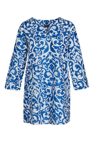 Royal Blue and White Mykonos KikiSol Tunic