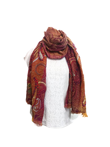 Burgundy Embroidered Wool Scarf