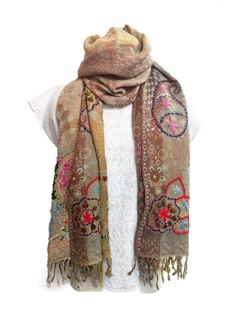 Camel Embroidered Wool Scarf