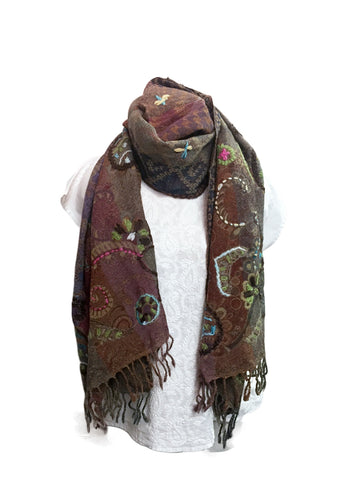 Smokey Gray Embroidered Wool Scarf