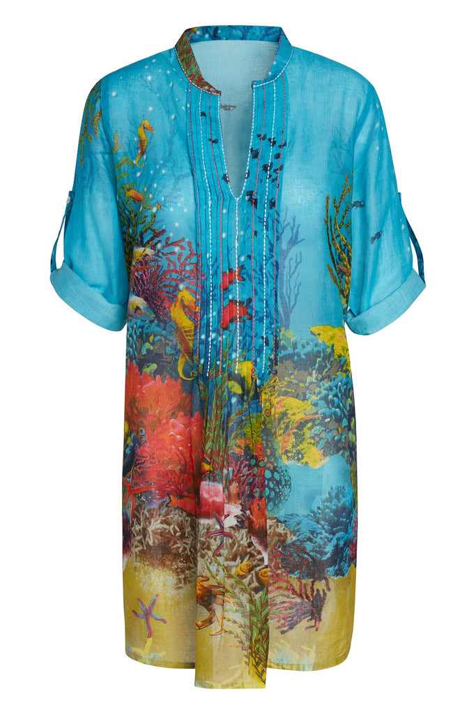 Artisan by KikiSol Sea Life Embroidered and Pleated Tunic