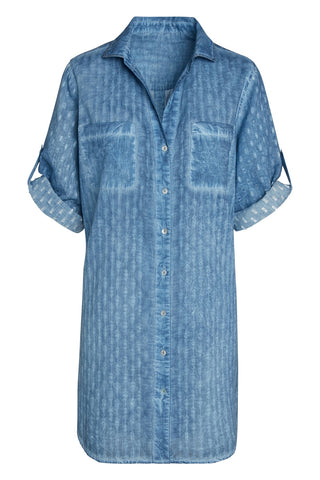 Artisan by KikiSol Textured Blue Button Down Shirt