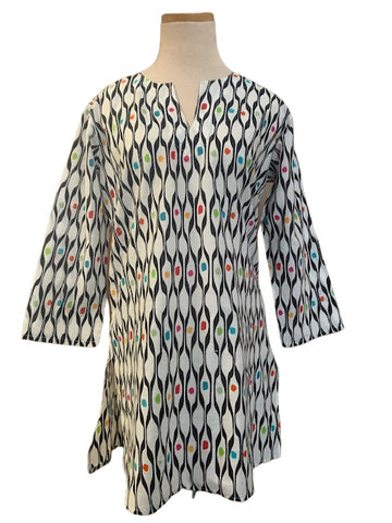 White and Multi Pebbles KikiSol Tunic