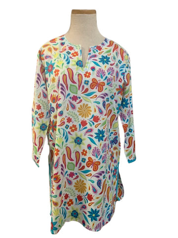 White and Multi-Colored Peppers KikiSol Tunic with Blue Trim