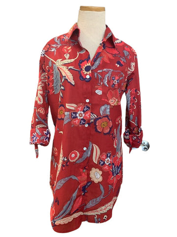 Wine Indian Floral KikiSol Boyfriend Shirt